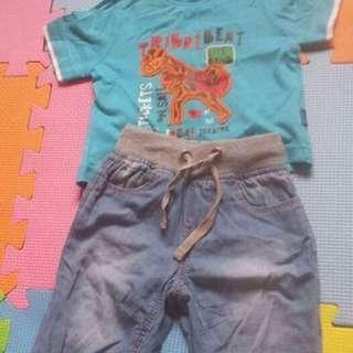 Baby boy terno ( shirt&soft maong pants)