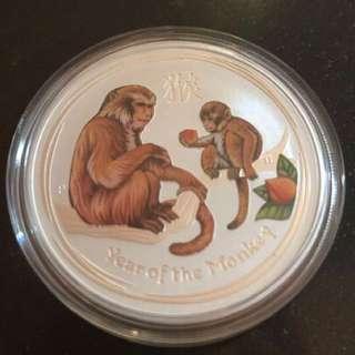 彩色猴年銀幣