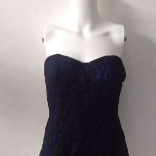 Forever 21 Blue And Black Lace Dress (M)
