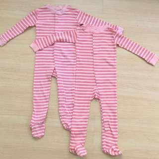 Old Navy Pink & Peach Stripey Sleepsuit Set
