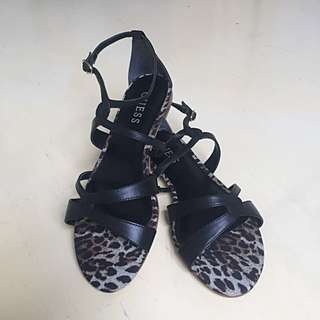 BRAND NEW Guess Black real leather sandals