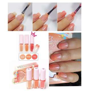 🆕Etude House Juicy Cocktail Trio Nail Polish Set #7 Peach Crush