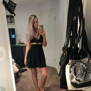 Black Skater Dress With Cutouts