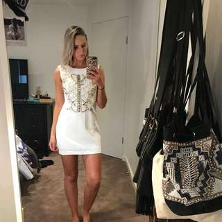 Classy White Dress Pearl Details