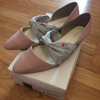 Jelly beans 日本製 粉紅色低跟鞋 全新