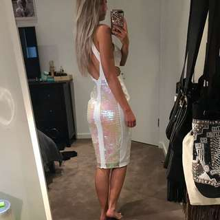 ASOS White Dress With Sequins And Cutout Details