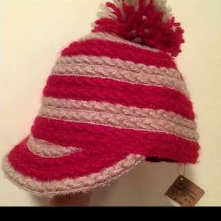The emporium紅色條紋球球毛帽