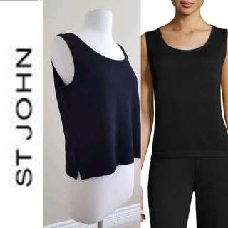 ST. JOHN Santana Black Wool-blend Knit Sleeveless Blouse, EUC, US S, $390 USD