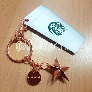 Starbucks Rose Gold Star Keychain with White Cup Card from Singapore