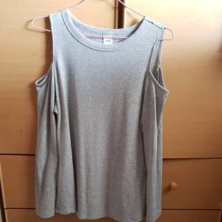 Grey cold shoulder cotton top