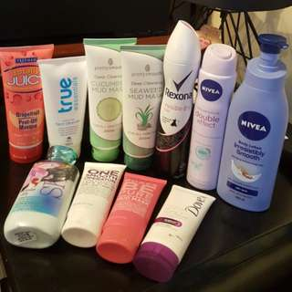 All sorts of skin care products