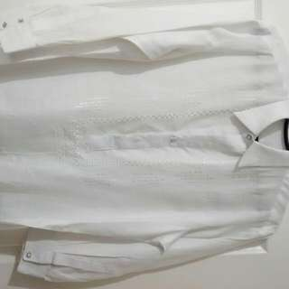 Barong Polo White Large Office Oath-taking