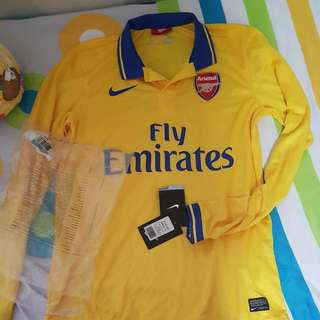 49453f122 Arsenal Authentic 2013 14 Nike Away Yellow Jersey (Long Sleeved Dry Fit)