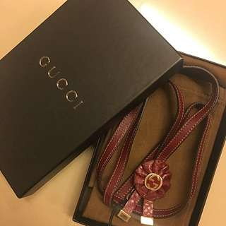 Authentic New Gucci Red Leather Gold Plated Lanyard