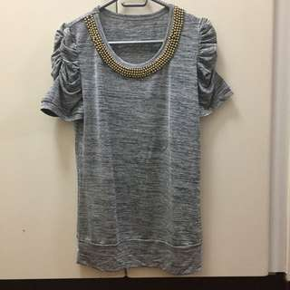 Grey Ruched Top
