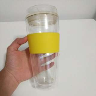 T2 Takeaway Double Walled Glass Tea Cup with Yellow Silicone Sleeve