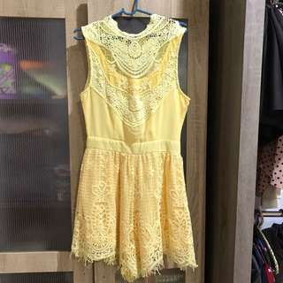 Lace yellow romper