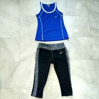 Nike Royal Blue Dri Fit tank top / sleeveless sando & Black with Grey Leggings (OTHER COLORS AVAILABLE MESSAGE ME)