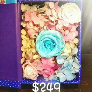 Tiffany blue 保鮮花,用書型盒仔盛載著  #永生花 #保鮮花 #不死花 #玫瑰花 #tiffany