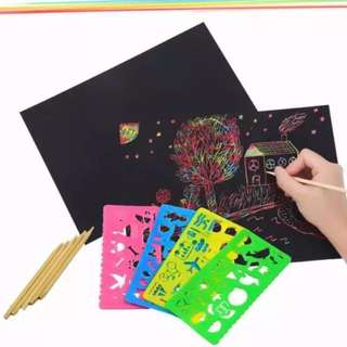 *BUY 5 KITS FREE SHIPPING + FREE 4 PCS ART TEMPLATE* Creative rainbow art drawing paper / sketch and scratch kit