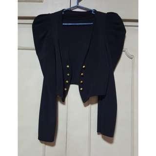SUPER SALE: Ruffle-sleeved cropped blazer