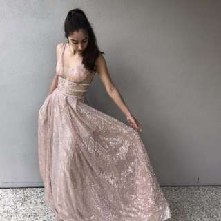 HIRING OUT ROSE GOLD DRESS