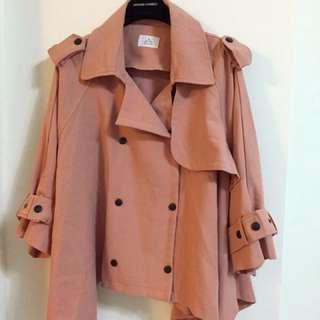 正韓粉色傘狀風衣外套