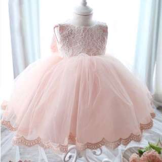 [PO]Beautiful pink princess dress with hairpin n bow 100cm