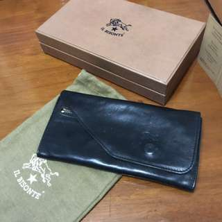 NEW PRICE !! Il Bisonte Long Leather Wallet Navy Blue