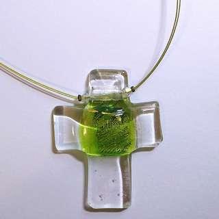 手工玻璃十字架項鍊