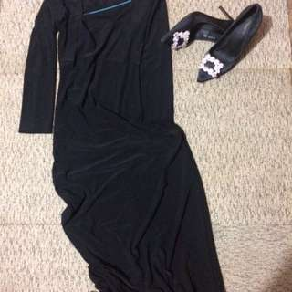 Black long dress,bahan nya adem banget