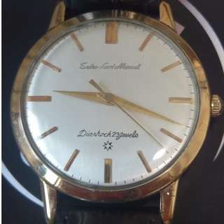 Rare 14K gold Seiko Lord Marvel with Carved dial