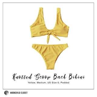 🔥SALE! Yellow Knotted Scoop Back Bikini