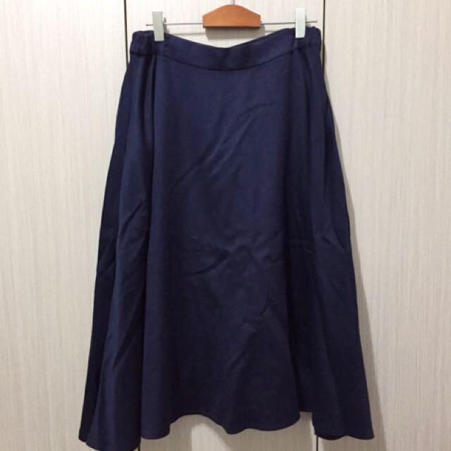 復古古著日系簡約無印良品風格藏青色深藍色高腰毛料傘擺過膝圓裙