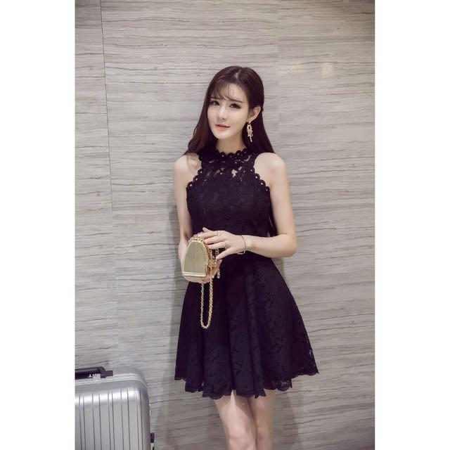 韓版黑色蕾絲洋裝