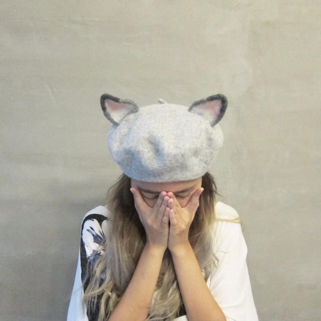 全新-羊毛氈貓咪貝雷帽