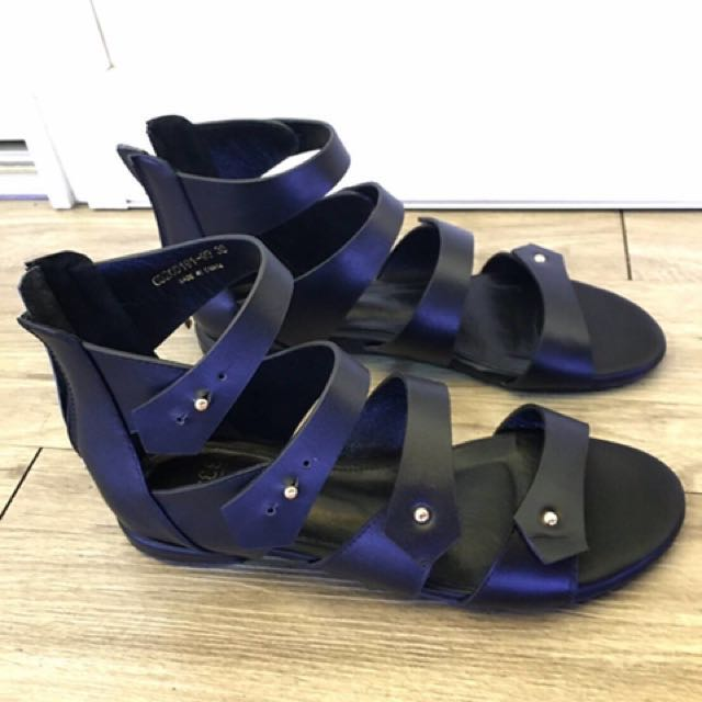 韓國 羅馬涼鞋 黑色