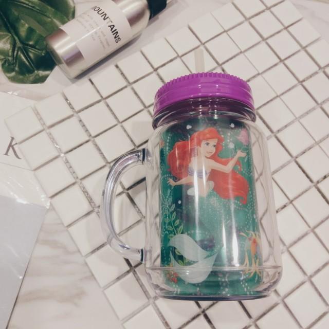 迪士尼小美人魚 水壺 密封罐造型吸管杯