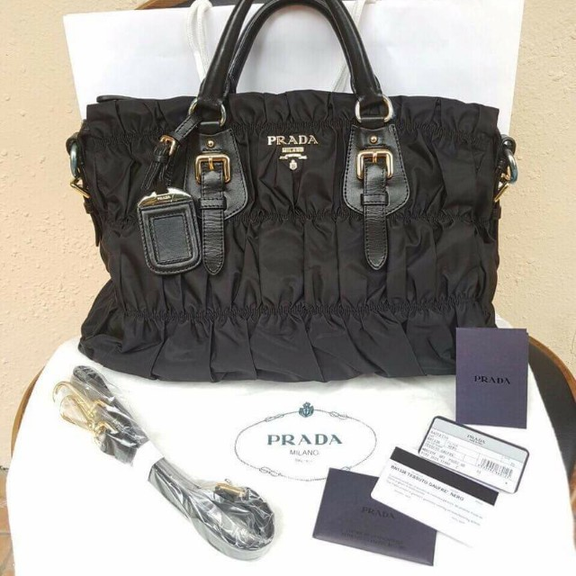 98b3a170e85c Sales ] 💯% Original Prada BN1336 Tessuto Gaufre Nero ⭐ , Luxury ...