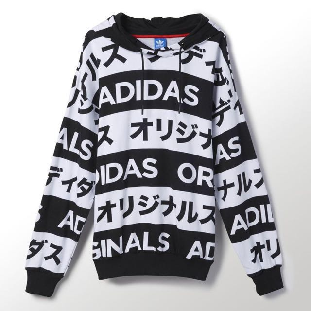 Adidas Originals Japanese Typo Black White Printed Hoodie