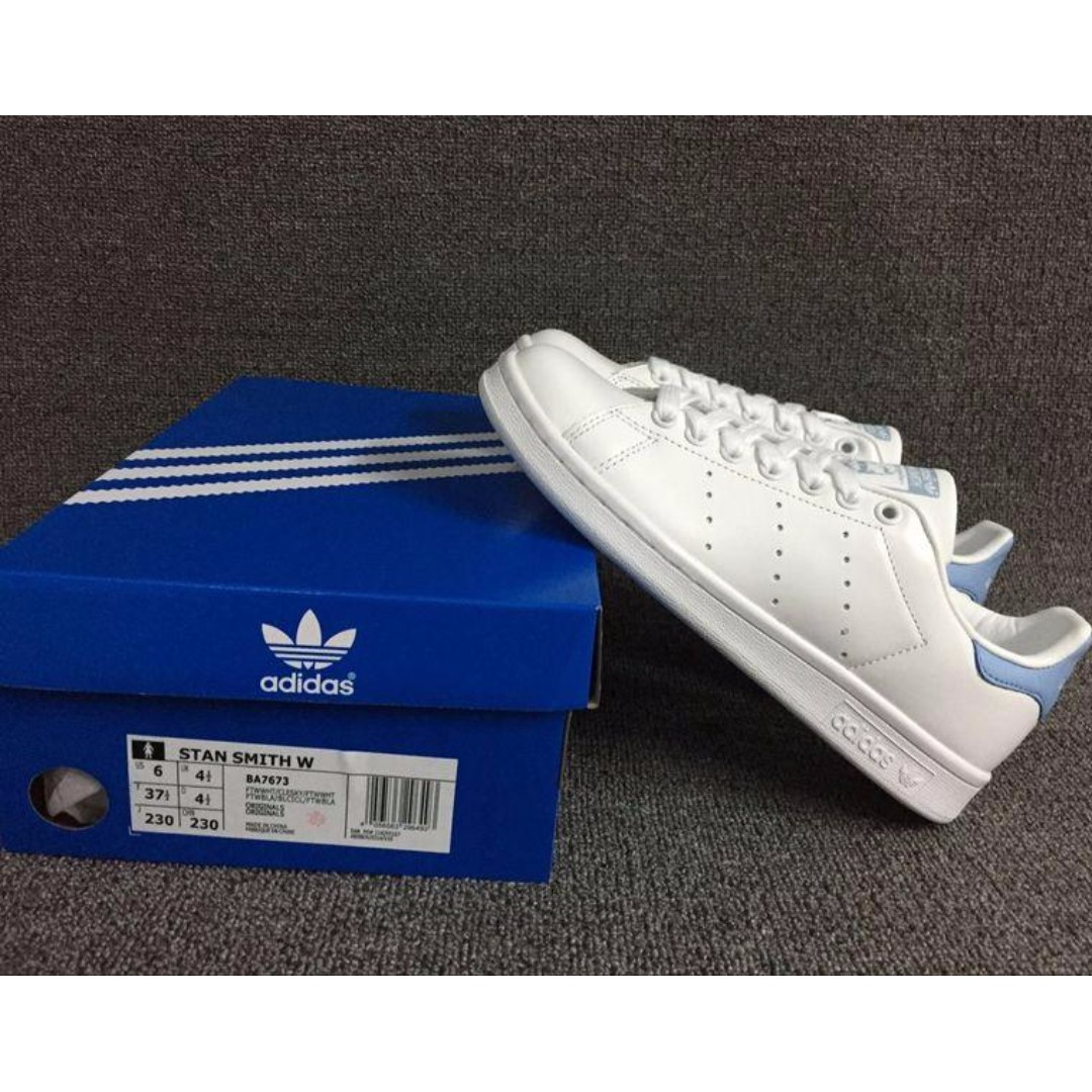 Garantizar Mil millones montículo  Adidas Stan Smith WhiteBaby Blue-BA7673, Women's Fashion, Shoes on Carousell