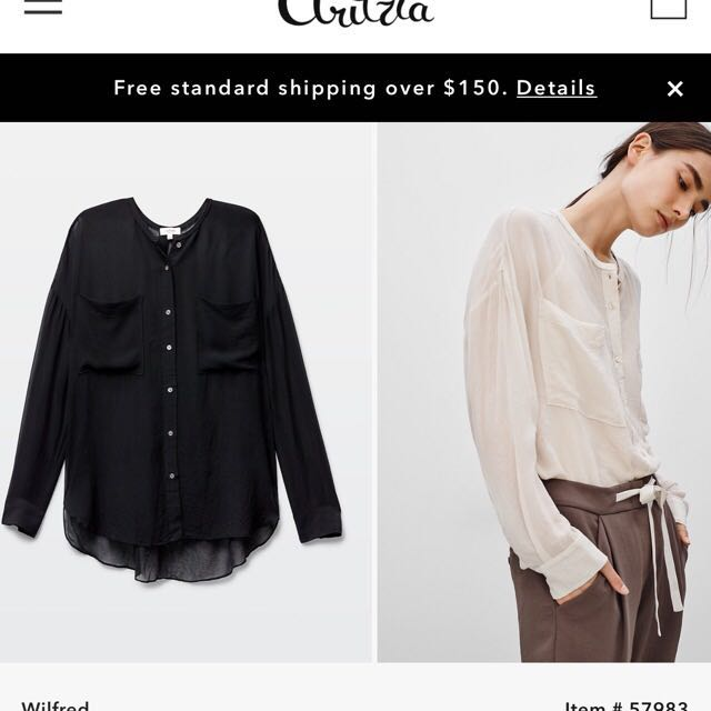 Aritzia Wilfred Silk Button up XS in BLACK