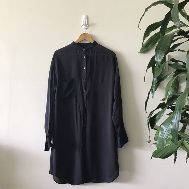 *AS NEW* Nique long sleeve shirt dress size 12 navy