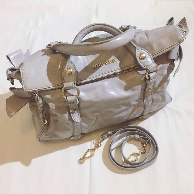Authentic MIU MIU Vitello Lux Bow Satchel Bag