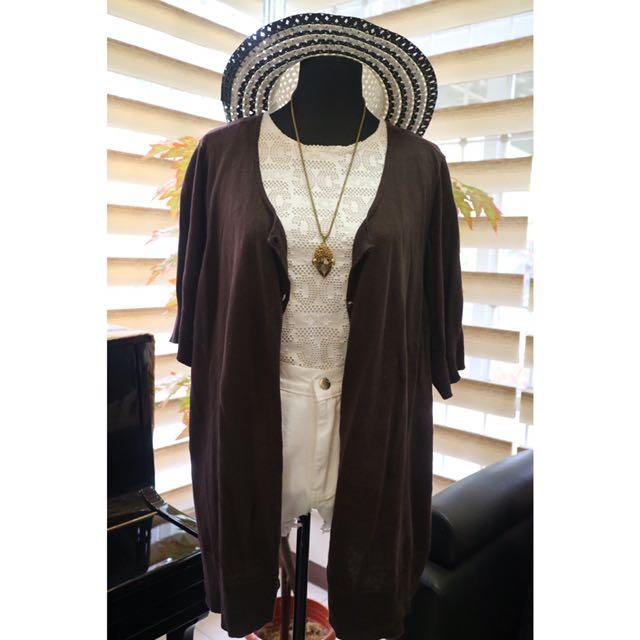 Avenue Dark Brown Knit Cardigan