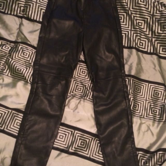 Black leather pants/tights