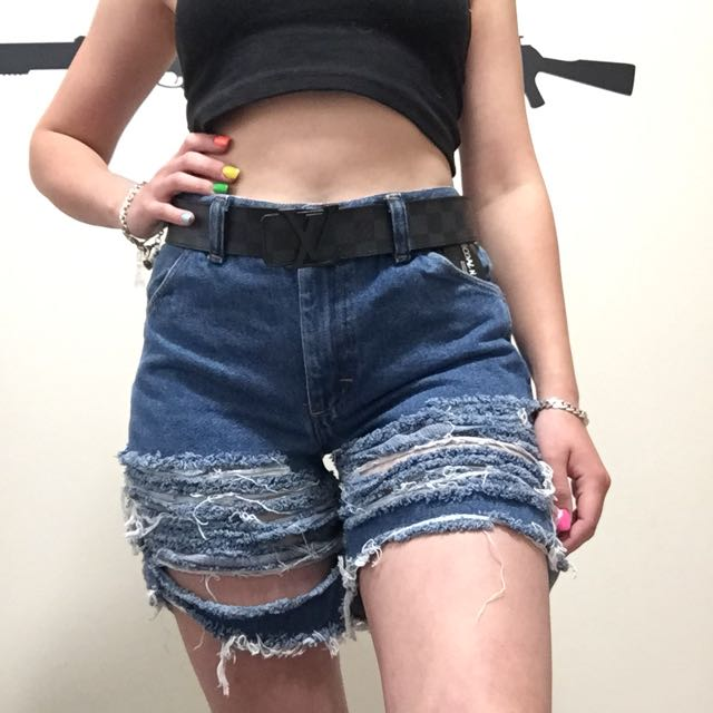 Coal and terry denim distressed shorts