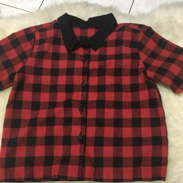 CROPPED PLAID BUTTON DOWN TOP