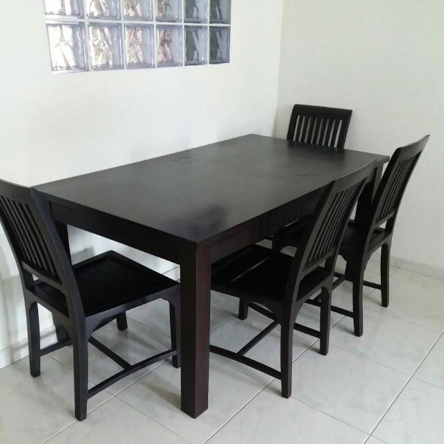 Dark Brown Scanteak Dining Set Table Chairs Home Furniture - Coffee table with 4 chairs