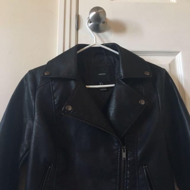 {faux black leather jacket}
